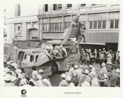 """Publicity photo from 1973 film """"Soylent Green"""" showing riot control scene"""